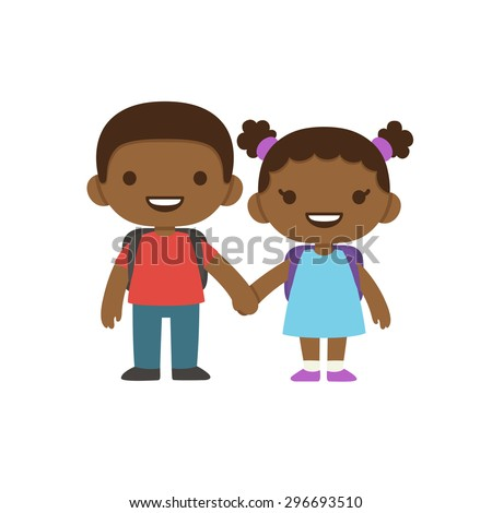 Two cute cartoon african american children with school backpacks smiling and holding hands. Older boy and smaller girl in dress with pigtails. - stock vector