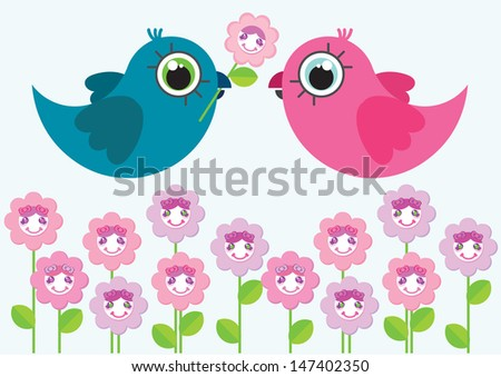 Two cute cartoon birds characters. One of them have a flower in beak. Birds flying above cute cartoon flowers. Illustration made in Kawaii style. Vector illustration. - stock vector