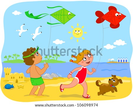 two cute cartoon children are running with kites on the beach summer holiday illustration for - Holiday Cartoon Images
