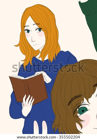 Two cute cartoon girls; the sad girl with orange hair is reading a book and the happy girl with brown hair is taking a photo
