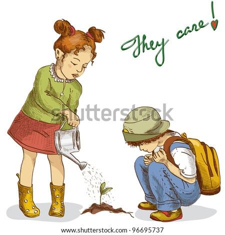 Two cute children hand drawn in vector (graphic style) are gardening - stock vector