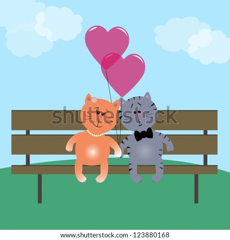 Two cute kittens in love on a bench with heart balloons - stock vector