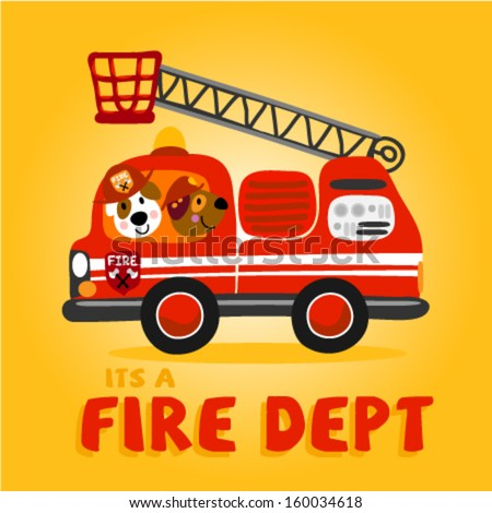 two cute little animals in a firetruck. Vector illustration for kids and babies - stock vector