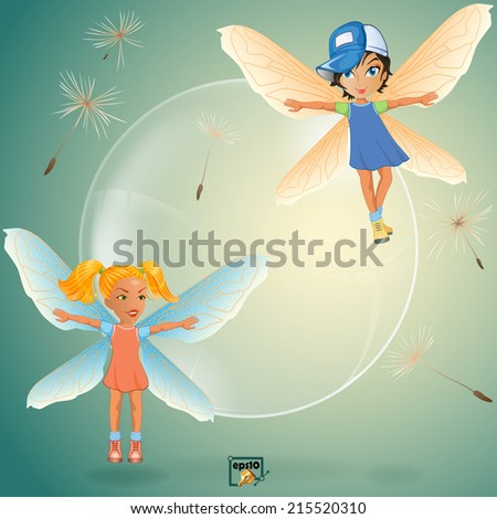 Two cute little fairy play with transparent soap bubble surrounded by dandelion seeds.  - stock vector
