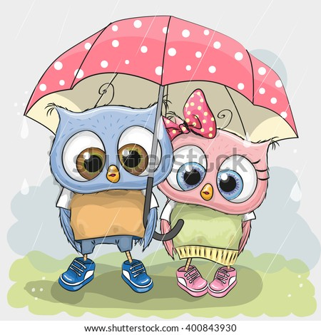 Two cute Lovers owls under pink umbrella - stock vector