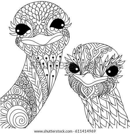 zendoodle coloring pages free | Two Cute Ostrich Smiling Zendoodle Stylize Stock Vector ...