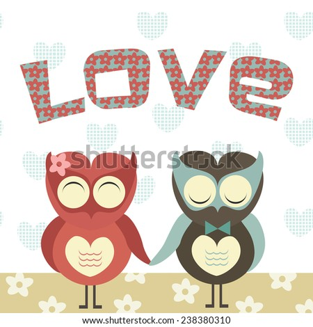 Two cute owls in love and Love word above them. Valentine's day card. Vector illustration.