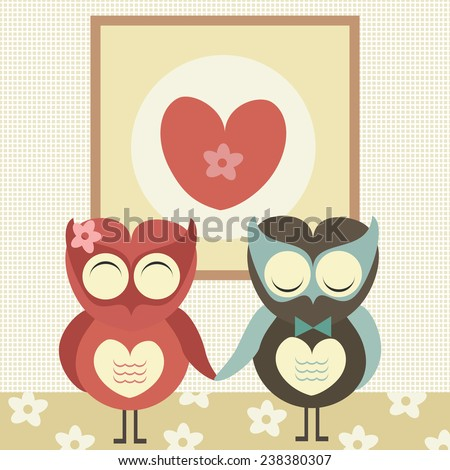 Two cute owls in love with heart sign above them. Valentine's day card. Vector illustration.