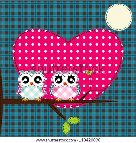 Two cute owls on the tree - stock vector