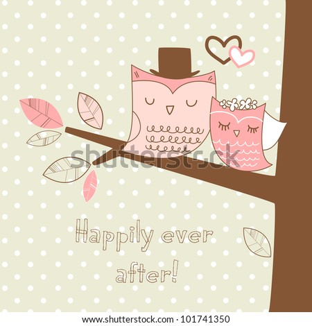 Two cute owls on the tree branch, Romantic Wedding Card - stock vector