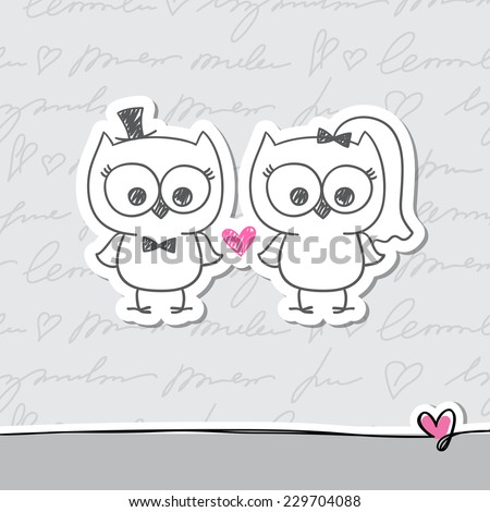 two cute owls, wedding invitation, vector hand drawn illustration - stock vector