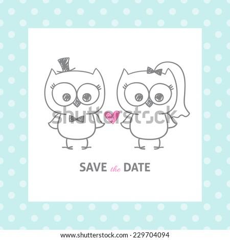 Couple little cute cartoon owls vector stock vector 461116429 two cute owls wedding invitation vector hand drawn illustration stopboris Choice Image