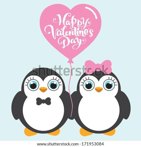 Cartoon penguins holding hands - photo#48