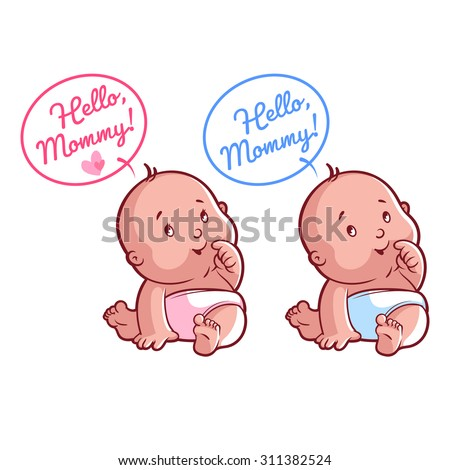 Two cute toddler in diaper. Card for mom: Hello, Mommy! Vector illustration on a white background. - stock vector
