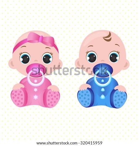 Two Cute Twin Babies Baby Girl Stock Vector 320415959