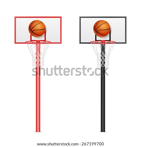 Two 3d realistic basketball backboards - red and black - with flying balls isolated on white background. Vector EPS10 illustration.   - stock vector