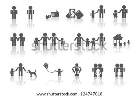 Two Dads Family Icon Symbol Set No open shapes or paths, grouped for easy editing. - stock vector