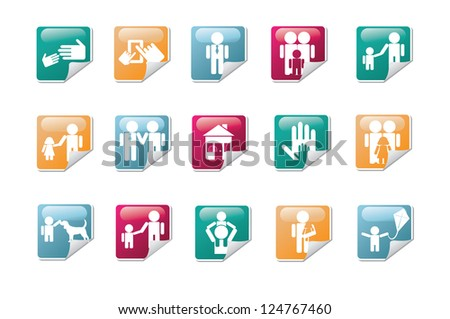 Two dads Icon Symbol Sticker Set - stock vector