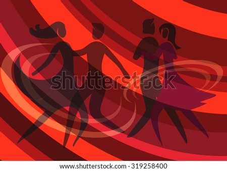 Two dancing couples. Illustration of Two Young couple dancing ballroom dance on the red abstract background. Vector available.  - stock vector