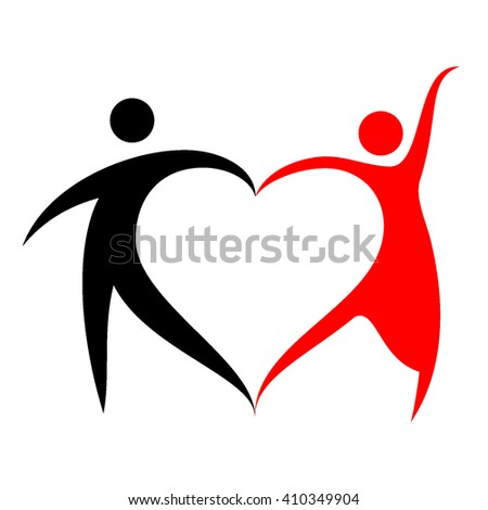 Two dancing human figures form heart shape symbol