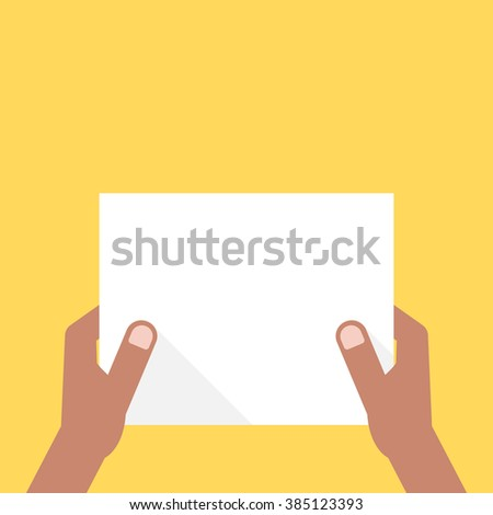 two dark-skinned hands holding white sheet. concept of notice, invitation, headline, check list, office note, show, ui, test. flat style trend modern design vector illustration on yellow background