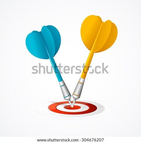 Two Darts hit the target isolated on white background. Vector illustration