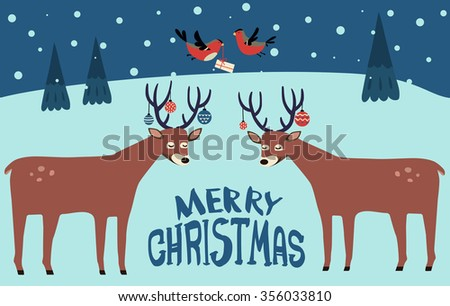 two deer with  baubles balls on their horns, birds with gift, fir-tree, snowfall, night on the background, lettering, vector illustration, Merry Christmas!  - stock vector