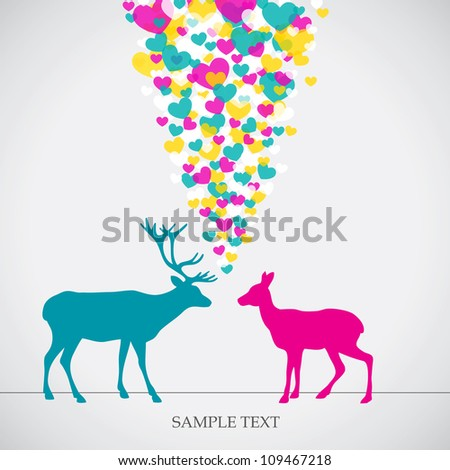 Two deers, love colorful card. Can be used for postcard, valentine card, wedding invitation - stock vector