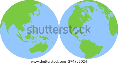 Two detailed planet Earth globes - stock vector