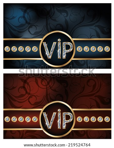 Two diamond VIP card, vector illustration - stock vector