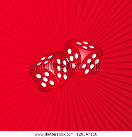 Two dices on red background - stock vector