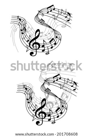Two different black and white musical waves or compositions with swirling clef, notes and scores in a music and audio concept - stock vector