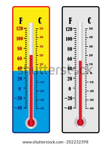 two different colors for the thermometer temperature readings