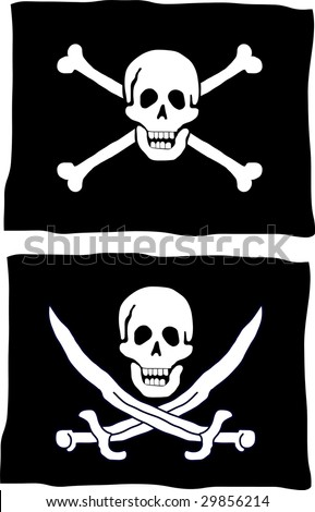 Two different kind of pirate flag - stock vector