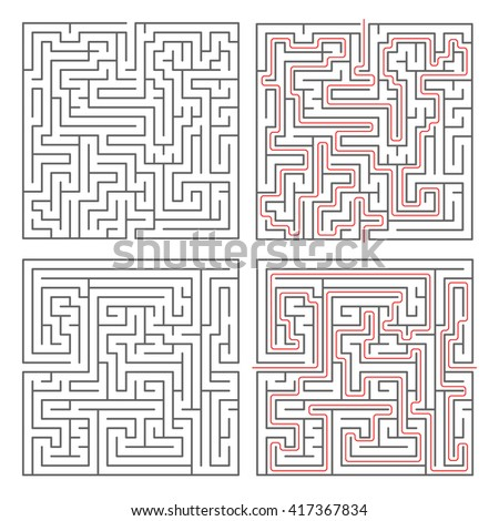 Two different mazes of medium complexity on white and solution with red paths - stock vector