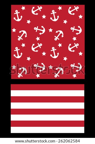 two different pattern in marine theme - stock vector