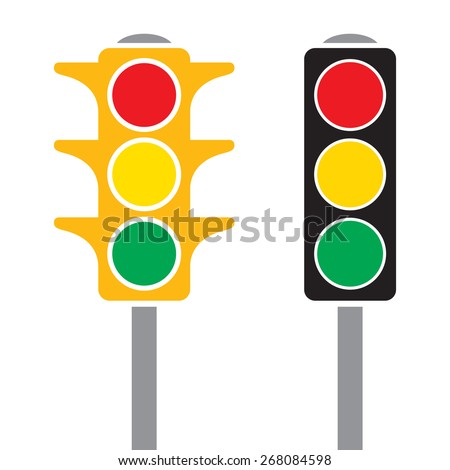 Two different styles of traffic light in a cartoon style in vector format.