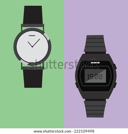 Two different watch. Flat style icon vector  - stock vector