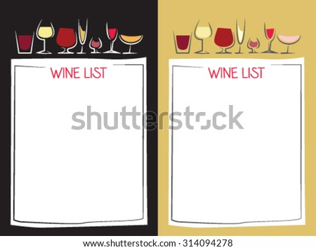 Two different wine list with stylized cups of wine - stock vector