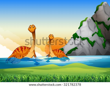 Two dinosaurs in the lake illustration - stock vector