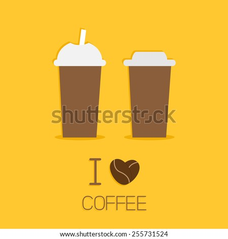 stock vector two disposable coffee paper cups icon i love coffe heart sead flat design vector illustration 255731524 Plastic Coffee Cups Watercolor Coffee In Plastic Cup Stock Vector Image