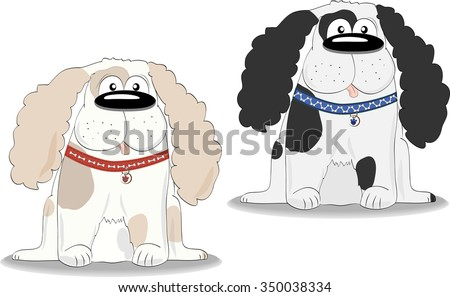 Two dogs of different colors in the collars. Dog sitting. - stock vector