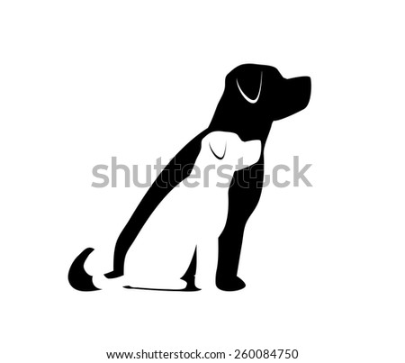 Two Dogs Sitting - stock vector