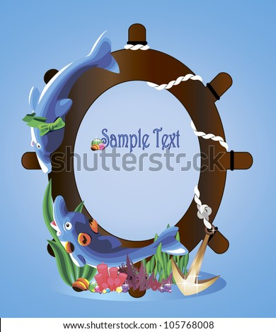 two dolphins near the steering wheel and anchors on the seabed as a background for text or photos - stock vector