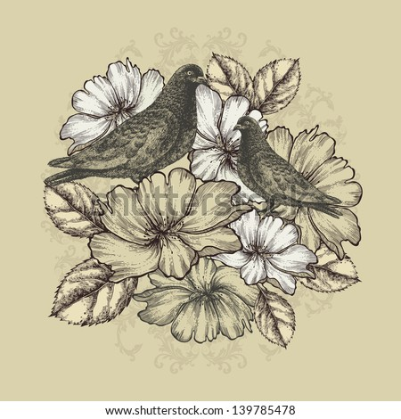Two doves with blooming roses. Vector illustration. - stock vector