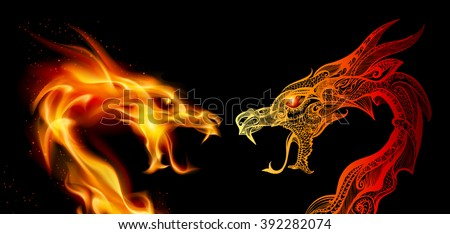 Two Dragon Heads in Fire and Transperent Ornaments - stock vector