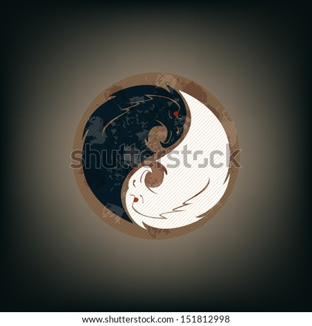 Two eagles is a yin-yang shape - stock vector