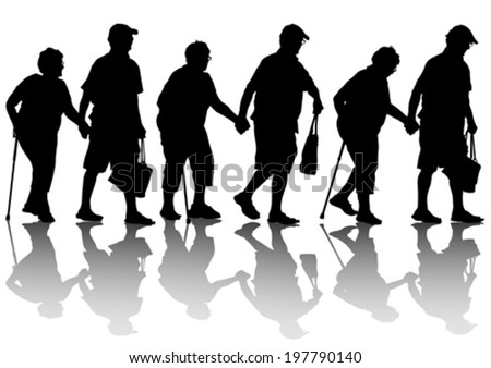 Two elderly people with cane one white background - stock vector