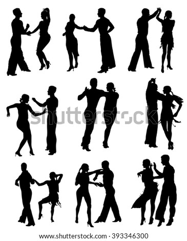 Two elegance tango dancers collections, vector silhouette. Isolated over white background. Dancing styles, Partner dance waltz, performer tango, woman and man. Vector illustration. - stock vector