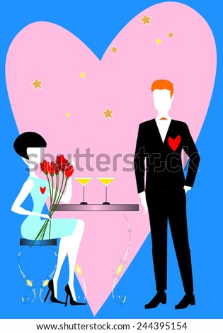 Two elegant lovers, a woman and a man, with flowers and heart, are waiting to celebrate the  Saint Valentine's day dinner. - stock vector